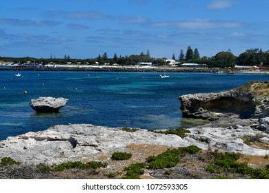 PERTH, WA, AUSTRALIA - NOVEMBER 27: Ferry to Perth on jetty in Rottnest Island, preferred travel destination in Western Australia, on November 27, 2017 in Perth, Australia