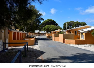 PERTH, WA, AUSTRALIA - NOVEMBER 27: Unidentified people and homes in the tiny settlement on Rottnest Island, on November 27, 2017 in Perth, Australia
