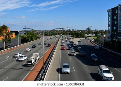 PERTH, WA, AUSTRALIA - NOVEMBER 29: Traffic on highway in the capital of Western Australia, on November 29, 2017 in Perth, Australia