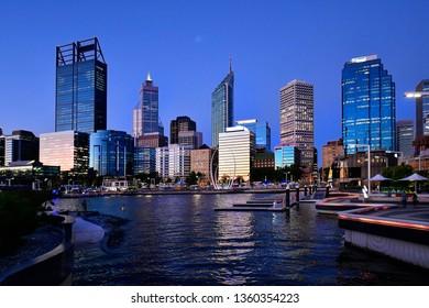 PERTH, WA, AUSTRALIA - NOVEMBER 30: Night scene with skyline of the capital in Western Australia, Elizabeth Quay on Swan River, on November 30, 2017 in Perth, Australia