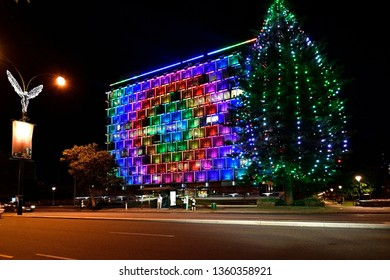 PERTH, WA, AUSTRALIA - NOVEMBER 30: Illuminated council house at Christmas time in the capital of Western Australia, on November 30, 2017 in Perth, Australia