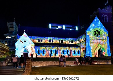 PERTH, WA, AUSTRALIA - NOVEMBER 30: Illuminated St. George cathedral at Christmas time in the capital of Western Australia, on November 30, 2017 in Perth, Australia