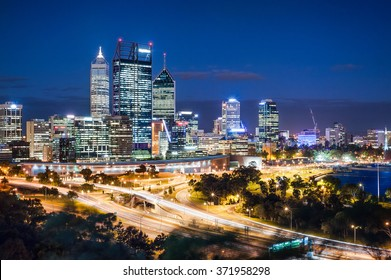 Perth, Western Austarlia - 23rd Jan, 2014: Night view with skyscrapers and light trails in Perth, Australia on King's Park