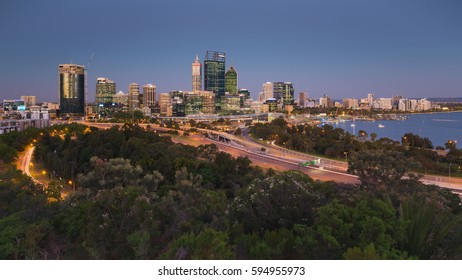 PERTH, WESTERN AUSTRALIA - 23 NOVEMBER 2016: The view of Perth city from Kings Park just after sunset with long exposure effect. Editorial.