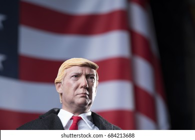 Perth, Western Australia - 25th July 2017: plastic or fake Donald trump with American flag in background