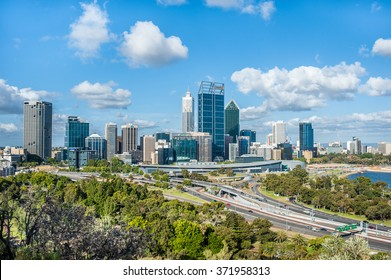 Perth, Western Australia - 2nd Jan, 2014: Landscape of the city with skyline and highway on King's Park