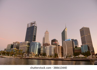 Perth, Western Australia, 9th March 2016: Perth CBD, Central Business District, with high rising buildings at marina view from new tourist attraction Elizabeth Quay.