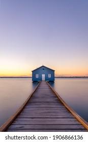 Perth, Western Australia - August 15 2020- Blue house boatshed Perth