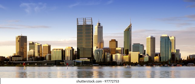 Perth, Western Australia, at dusk, with Swan River in foreground.