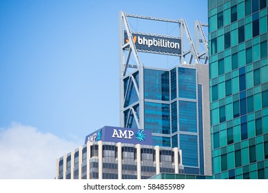 Perth, Western Australia - February 21, 2017: Office buildings of BHP Biliton and AMP, mining and banking companies , with regional headquarters in Perth, Western Australia.