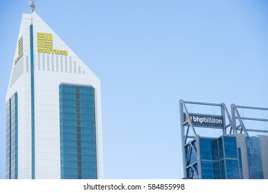 Perth, Western Australia - February 21, 2017: Office buildings of BHP Biliton and subsidiary company South32, two big mining companies , with regional headquarters in Perth, Western Australia.