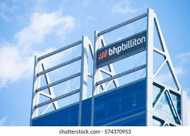 Perth, Western Australia - February 3, 2017: Office building of BHP Biliton, one of the biggest mining companies in the world, with regional headquarter in Perth, Western Australia