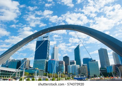 Perth, Western Australia - February 3, 2017: Panoramic view from Elizabeth Quay of the city skyline of Perth, capital of Western Australia and headquarter for mining and finance companies.