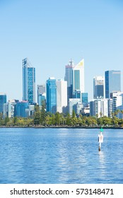 Perth, Western Australia - February 4, 2017: Early morning view across the Swan River towards the skyline of Perth, capital of Western Australia and headquarter for many mining and banking companies.