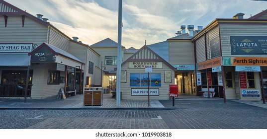 PERTH, WESTERN AUSTRALIA- JAN 2018 : The historical Old Perth Port along the Swan River in Perth, Western Australia
