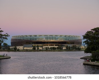 Perth, Western Australia - January 31, 2018:  Perth Optus Stadium and the Swan River at sunset.