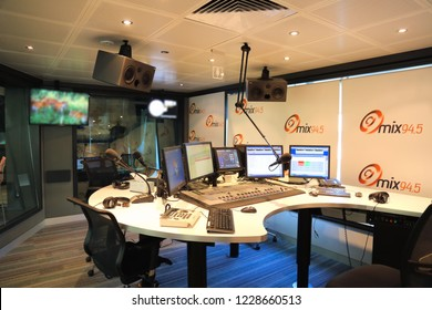 Perth, Western Australia March 12 2016: Empty studio at one of the top rating radio stations in Perth, Mix 94.5, part of the Southern Cross Austereo (SCA) Triple M network