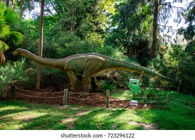 Perth, Western Australia, March 2016: Standing Apatosaurus display model in Perth Zoo as part of Zoorassic exhibition