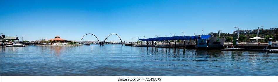 Perth, Western Australia, November 2016: Panorama of Elizabeth Quay with Bridge, Jetty and Island in Perth City