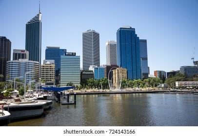 Perth, Western Australia, November 2016: Perth City view from Elizabeth Quay Bridge with The Spanda sculpture in waterfront