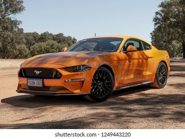 Perth, Western Australia  - October 28th, 2018: 2019 Ford Mustang 5.0 GT Fastback, finished in Orange Fury.