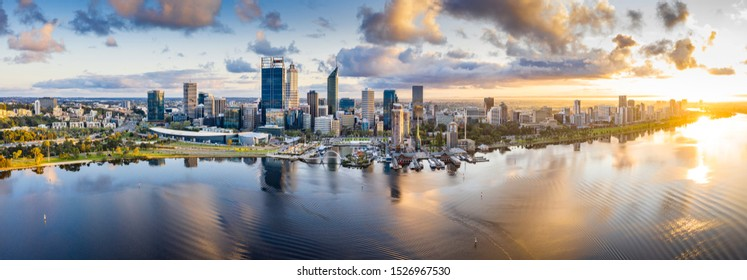 Perth Western Australia September 18th 2019 : Aerial panoramic view of the beautiful city of Perth at sunrise