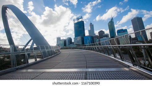 Perth, Western Australia, skyline viewed from Elizabeth Quay Bridge