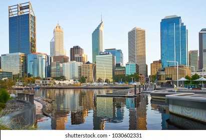 PERTH, WESTERN AUSTRALIA-JAN 2018 : Elizabeth Quay Marina in Perth, WA. Central business district on background