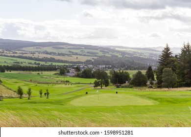 Perthshire Scotland  - September 11 2019: Golfers enjoying a great day at the Pitlochry Golf Course in the Scottish Highlands, UK September 11,  2019