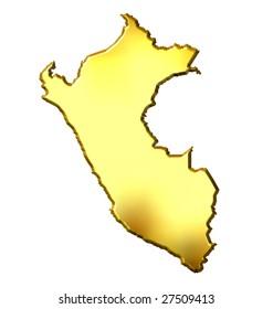 Peru 3d golden map