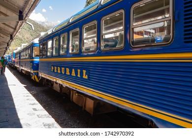 Peru, Aguas Calientes, August 2, 2012: Peruvian train access to Machupicchu ruins in Peru