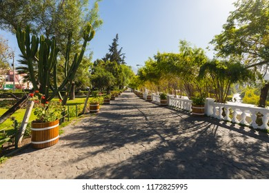 Peru Arequipa August 2018 the city has numerous parks and this called Bolognesi is located along the Chili river