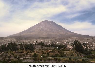 Peru, Arequipa - December 2 2018: The Misti Volcano