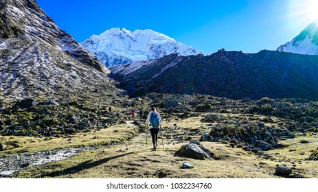 PERU AUGUST 2017 - Hikers on the way to Salkantay Mountain in Peru