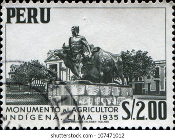 PERU - CIRCA 1954: A stamp printed in Peru shows Agriculture Monument, Lima, 1935, circa 1954