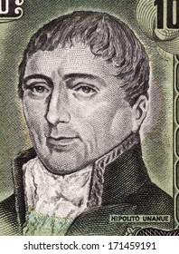 PERU - CIRCA 1975: Hipolito Unanue (1755-1833) on 100 Soles De Oro 1975 Banknote from Peru. Peruvian physician and a politician.
