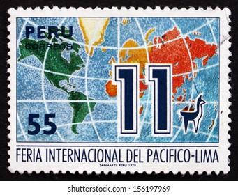 PERU - CIRCA 1979: a stamp printed in the Peru shows World Map, Fair Emblem, 11th Pacific International Trade Fair, Lima, circa 1979