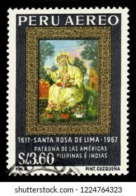 PERU - CIRCA 2002: A stamp printed in Peru shows icon St. Rosa of Lima by Cuzquena School, first catholic saint of Latin America, patroness of Peru, circa 2002