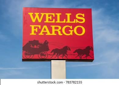 Peru - Circa November 2017: Wells Fargo Signage and Logo. 2017 was a scandal filled year for Wells Fargo I