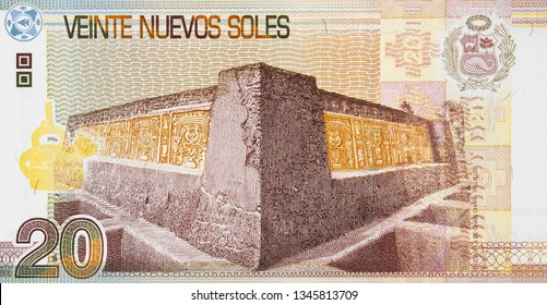 Peru currency 20 soles banknote. Peruvian money, economy, trade.