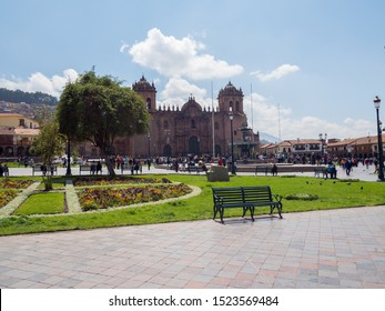 Peru, Cusco - September 28, 2019 - Paza de armas, Cathedral in the background, tourists and locals fill the place