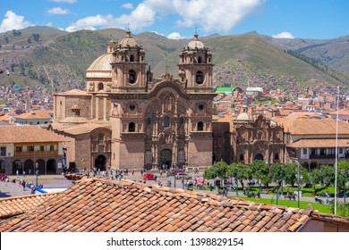 Peru, Cuzco, Overlooking Plaza des armas with Cathedral on a sunny day. the 14th of April 2019