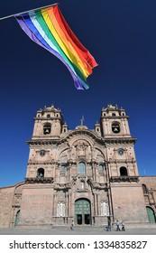 Peru, Cuzco, Plaza de Armas, Conpania de Jesus Church.