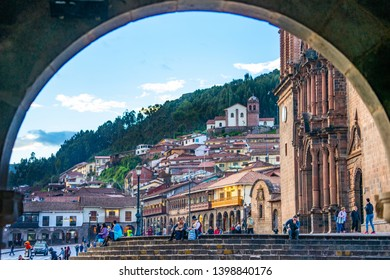 Peru, Cuzco,  Plaza des armas with Cathedral on a sunny day. the 14th of April 2019