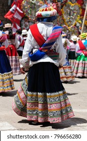 Peru, Dancers in traditional dresses on the festival Wititi (UNESCO) in the Chivay town in the Colca canyon