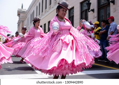 PERU, FEB 03, 2019: dancer in Festival of the Virgen de la Candelaria in Catedral of Lima, typical peruvian dance, Morenada puneña.