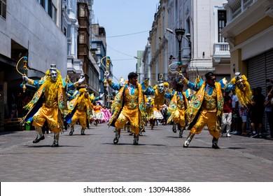 PERU, FEB 03, 2019: dancer in Festival of the Virgen de la Candelaria in Catedral of Lima, typical peruvian dance.