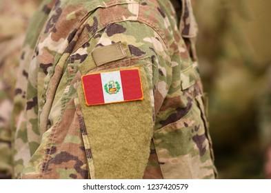 Peru flag on soldiers arm. Peru troops (collage)