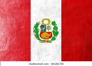 Peru Flag painted on leather texture