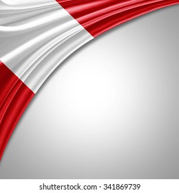 Peru flag  of  silk with copyspace for your text or images